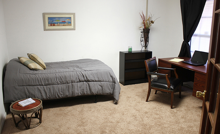 A clean, residential room for sobering