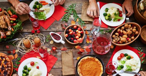 overlooking table with holiday food