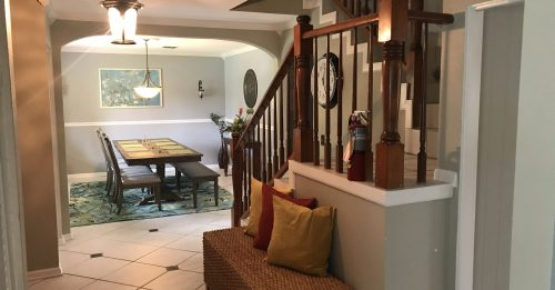 dining room and stair case